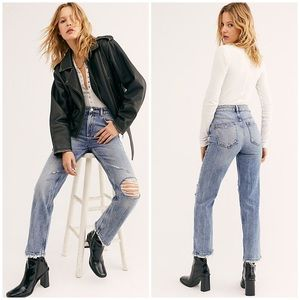Free People High Rise Straight Leg Distress Jeans